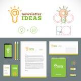 Logotipo de las ideas del hoja informativa y plantilla de la identidad Imagenes de archivo