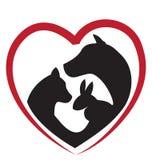 Logotipo de las siluetas del gato, del perro y del conejo Imágenes de archivo libres de regalías