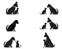 Logotipo de las siluetas del vector del gato y del perro ilustración del vector