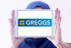Logotipo de los alimentos de preparación rápida de Greggs Foto de archivo
