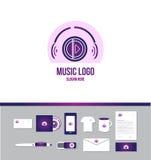 Logotipo de los auriculares de la música ilustración del vector