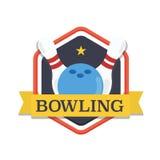 Logotipo de los bolos, plantilla del diseño, plantilla del torneo del emblema Bolos y bola con las cintas Foto de archivo