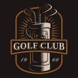 Logotipo de los clubs de golf en fondo oscuro Foto de archivo