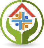 Logotipo de los cuidados en casa Imagen de archivo libre de regalías