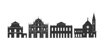 Logotipo de Macao Arquitectura aislada de Macao en el fondo blanco ilustración del vector