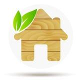 Logotipo de madeira da casa Casa do eco do vetor Madeira Imagens de Stock