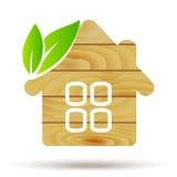 Logotipo de madeira da casa Casa do eco do vetor Madeira foto de stock royalty free