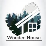 Logotipo de madera de la casa Imagen de archivo