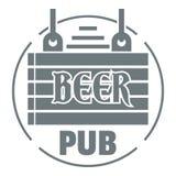 Logotipo de madera del pub de la cerveza del tablero, estilo gris simple Imagen de archivo