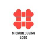Logotipo de Microblogging con el hashtag de corazones Fotos de archivo