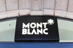 Logotipo de Montblanc em uma parede Fotografia de Stock