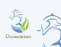 Logotipo de Oceanarium - ilustração do golfinho no azul ilustração royalty free
