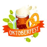 Logotipo de Oktoberfest, estilo isométrico ilustração royalty free