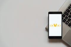 Logotipo de Oovoo en la pantalla del smartphone Imagen de archivo libre de regalías