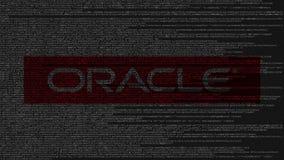 Logotipo de Oracle Corporation feito do código fonte no tela de computador Rendição 3D editorial ilustração stock
