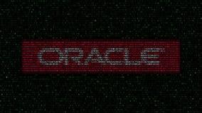 Logotipo de Oracle Corporation feito de símbolos hexadecimais no tela de computador Rendição 3D editorial ilustração royalty free
