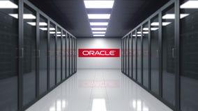 Logotipo de Oracle Corporation na parede da sala do servidor Rendição 3D editorial ilustração do vetor