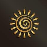 Logotipo de oro espiral de la imagen del sol Imágenes de archivo libres de regalías