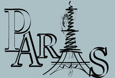 Logotipo de París con la torre Eiffel Fotografía de archivo libre de regalías