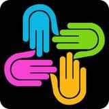 Logotipo de quatro mãos Fotos de Stock Royalty Free