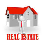 logotipo de Real Estate del agente 3D Imagenes de archivo