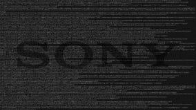 Logotipo de Sony Corporation feito do código fonte no tela de computador Rendição 3D editorial ilustração royalty free