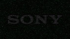 Logotipo de Sony Corporation feito de símbolos hexadecimais no tela de computador Rendição 3D editorial ilustração stock