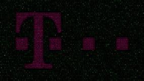 Logotipo de T-Mobile hecho de símbolos hexadecimales en la pantalla de ordenador Representación editorial 3D Fotos de archivo libres de regalías