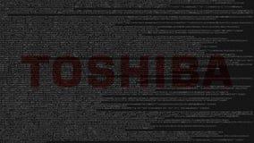 Logotipo de Toshiba Corporation feito do código fonte no tela de computador Rendição 3D editorial ilustração stock