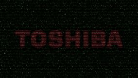 Logotipo de Toshiba Corporation feito de símbolos hexadecimais no tela de computador Rendição 3D editorial ilustração royalty free