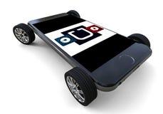 Logotipo de Uber en smartphone con las ruedas libre illustration
