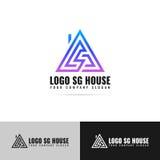 Logotipo de una casa triangular con una chimenea Fotografía de archivo libre de regalías