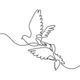 Logotipo de voo de dois pombos ilustração stock