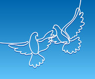 Logotipo de voo de dois pombos Fotos de Stock