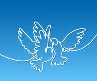 Logotipo de voo de dois pombos Imagem de Stock
