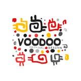 Logotipo decorativo da mágica do vudu do desenho do estilo da criança s Teste padrão mágico abstrato do tema Religião e cultura M ilustração stock