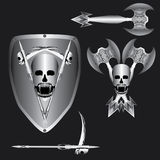 Logotipo decorativo del diablo del cráneo del vector del diseño Fotos de archivo libres de regalías