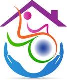 Logotipo deficiente da casa do cuidado ilustração stock