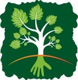 Logotipo del árbol de la mano stock de ilustración