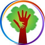 Logotipo del árbol de la mano ilustración del vector