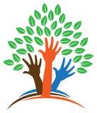 Logotipo del árbol de la mano Imagenes de archivo