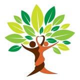 Logotipo del árbol de los pares stock de ilustración