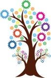 Logotipo del árbol del engranaje stock de ilustración