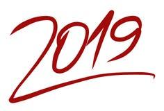 Logotipo 2019 del año manuscrito con una fuente roja dinámica foto de archivo
