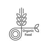 Logotipo del alimento biológico con la línea fina oídos del trigo Imágenes de archivo libres de regalías