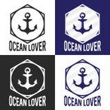 Logotipo del amante del océano fijado con el ancla Imagen plana del vector libre illustration