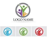 Logotipo del amor del cuidado de la familia y plantilla de los símbolos Imagen de archivo libre de regalías