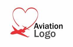 Logotipo del amor de la aviación Fotos de archivo libres de regalías