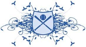 Logotipo del béisbol con la decoración floral libre illustration