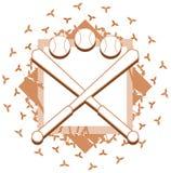 Logotipo del béisbol con la decoración floral aislada libre illustration